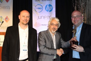 HP SDN Winners Dominic Wilde, HP, Manek Dubash, NetEvents, Eric Papir, HP